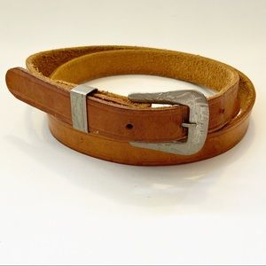 Leather Belt with Western Style Buckle